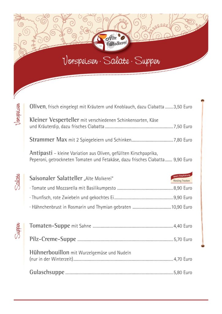 """Restaurant """"Alte Molkerei"""" in Manderscheid - Speisekarte"""